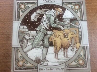Rare c19th 1880 Moyr Smith Signed Mintons Tile The Snow Storm Thomson Seasons 2