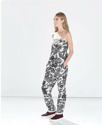 1742a9b7d87 Zara Black and White Floral Linen Bandeau Strapless Jumpsuit small