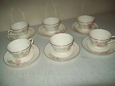 Knowles American made vintage China cups & saucers (6) green stamp wild rose