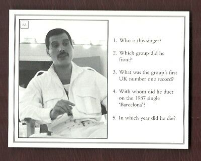 Queen - Freddy Mercury - Extremely Rare - Uk Trivia Game Card - Circ 2000