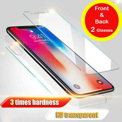 Front & Back Tempered Glass Screen Protector For iPone 4, 5, 6, 7, 8, Plus, X 10