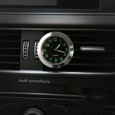 Mini Car Desk Air Vent Quartz Clock Auto Interior Watch Luminous Stick-On Clock