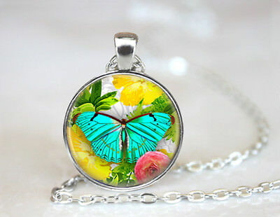 Vintage Exotic Butterfly Dome Tibetan silver Glass Chain Pendant Necklace
