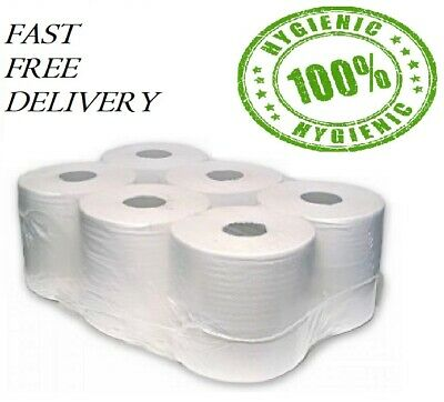 Pack Of 1/6/12/18 2 Ply White Rolls Centrefeed Paper Wipe Towel Tissue Uk