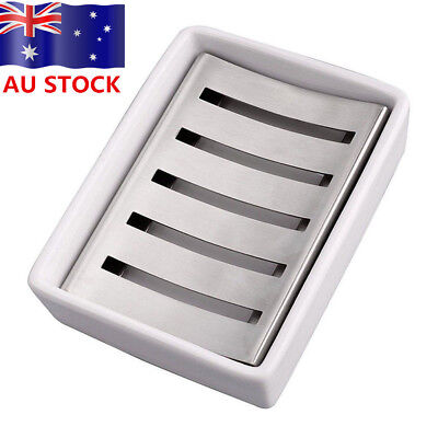 Ceramic Dish Soap Stainless Steel Soap Holder for Bathroom and Shower AU Ship!