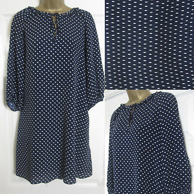 82858177163 NEW M S Ladies Spotted Tunic Swing Dress Loose Fit Smart Navy White Size ...