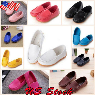 Kids Boys Girls Slip On Leather Flat Loafers Casual Soft Baby Toddler Boat Shoes