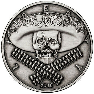 2018 American Western Skulls Series - Mexican Bandito 5 oz Silver Antiqued Round
