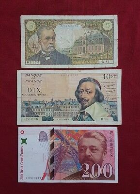 "France : 3 Billets de la Banque de France 5 Frs + 10 NF + 200 Frs ""BA01"""