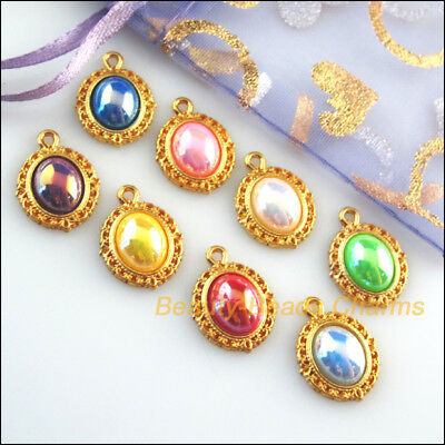 8Pcs Oval Flower Mixed Acrylic Flatback Gold Plated Charms Pendants 13.5x18mm