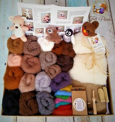 Needle felting kit, starter, 250g carded natural wool + core, 12 needles, mat