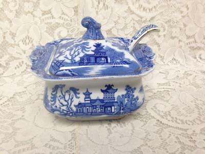 Antique Burleigh Ware Variant Blue Willow 3pc Small Tureen w/ Ladle 6inLx5inT(B)