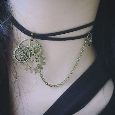 Vintage Gothic Victorian Steampunk Gear Necklace Faux Leather Rope Necklace