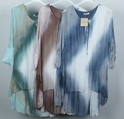 Wholesale joblot ladies tye dye silk layerd lace panel lagenlook dress 6 pcs mix
