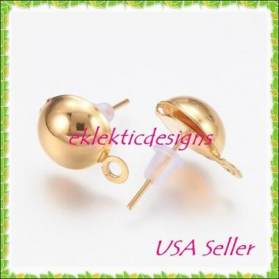20pc Gold Plated 6mm Half Ball Post Stud Earrings w/Backs 10pr Findings Jewelry