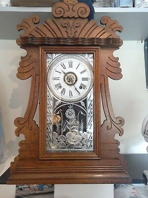 c1901 FULLY RESTORED & SERVICED  LARGE ANSONIA KITCHEN/MANTLE CLOCK WITH ALARM