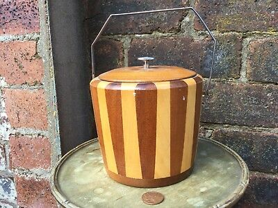 Mid Century Inlaid Two Tone Wooden Biscuit Barrel Ice Bucket