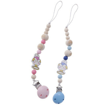 2PCS Silicone Baby Teething Dummy Pacifier Clip Bead Infant Soother Chain