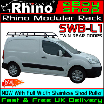 (SWB) Citroen Berlingo Roof Bars Rack +Ladder Roller Rhino Modular 2008-2018 Van