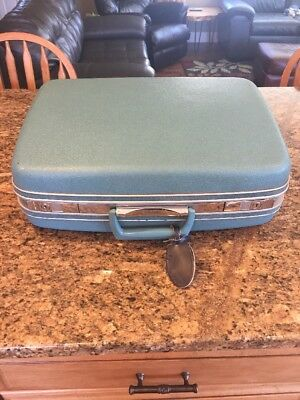 Vintage Retro Samsonite Silhouette Aqua Blue Luggage Suitcase 20x15