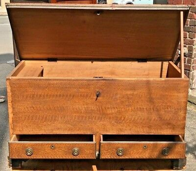 18Th C. Chippendale Dovetailed Antique Blanket Box / Chest ~~~ Rare Ochre Paint