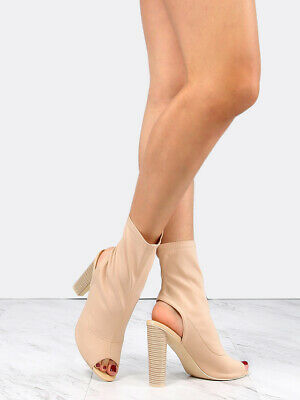 Cape Robbin Connie-3 NUDE Open Peep Toe Lycra Elastic Pull On Ankle Bootie