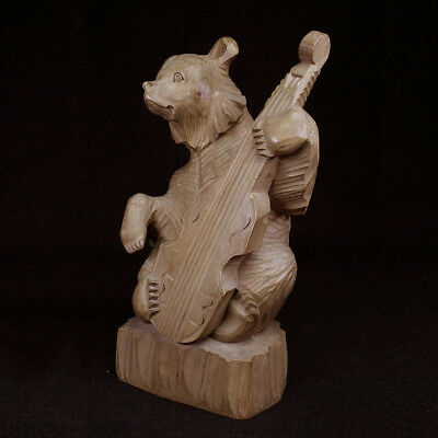 Wood Carving, Unique Bear Sculpture Figurine and Cello Instrument Made in USSR
