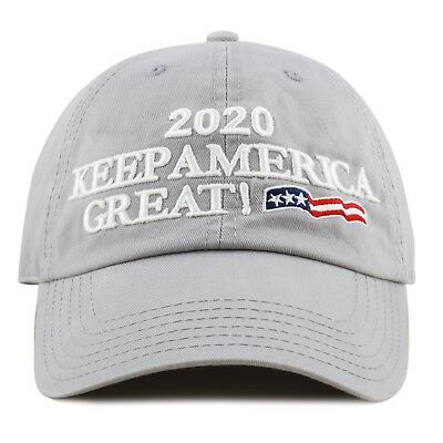 The Hat Depot Exclusive Trump 2020 Keep America Great Cotton Cap-Grey
