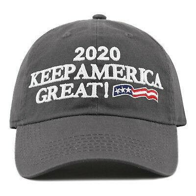 The Hat Depot Exclusive Trump 2020 Keep America Great Cotton Cap-Charcoal