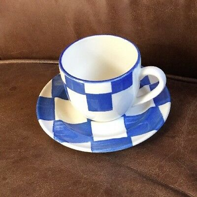 Habitat Discontinued  Blue & White Monaco Check Pattern Tea Cup & Saucer - VGC