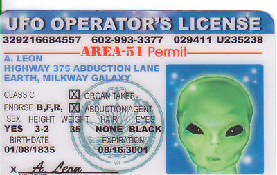 UFO Operator , Alien from Area-51 plastic ID card Drivers License -