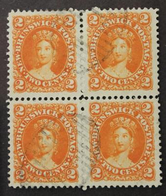 New Brunswick #7 Used Block Of 4, Scarce Used Multiple, No Tears Or Thins