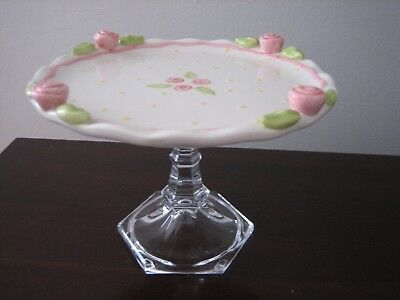"Cake Plate Stand By Nicole Engblom White With Pink Roses 7 3/4"" With Glass Dome"