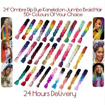"24"" Unique Tone Colours Ombre Dip Dye Kanekalon Jumbo Braid Hair 1st Class Post"
