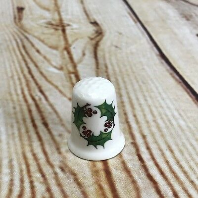 English Bone China Thimble Red Christmas Wreath Holly Berrie Greenery England