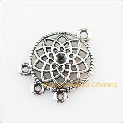12Pcs Tibetan Silver Tone Round Flower Charms Pendants Connectors 18x24.5mm