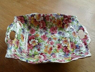 "Vintage James Kent ""du Barry"" Floral Chintz 2 Handle China Dish Tray England"