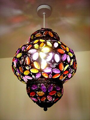 New Vintage Moroccan Style Ceiling Pendant Light Shade Metal Crystal Chandelier