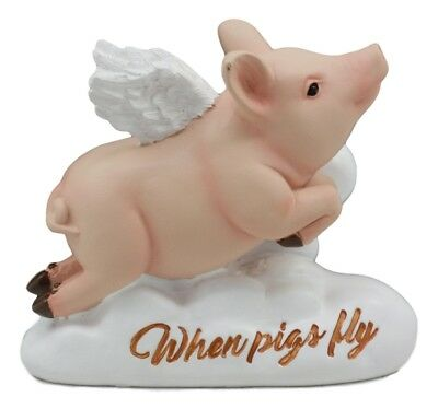 """Flying Pig When Pigs Fly Figurine Piggy Statue 4""""Long Home Decor"""