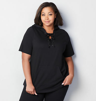 AVENUE Lace Inset French Terry Hoodie Womens Plus Size