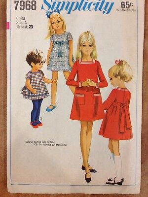 1960's Simplicity Pattern 7968 Child's and Girl's Dress Size 4