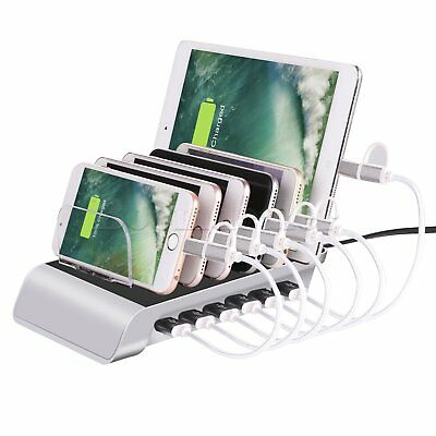 6 Ports USB Multiple Charger Station Stand Fast Charging for iOS & Android Phone
