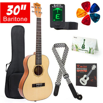 Baritone Ukulele 30 inch Solid Spruce Ukulele Kit With Strap Tuner Picks Gig Bag