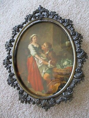 Vtg Brass Oval Italy ornate gilt  FRAME Courting Picture~  12x9''