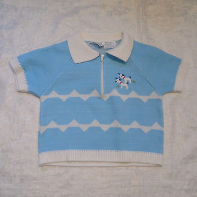 Vintage A Little Angel Knit Sweater 12M Blue Acrylic Short Sleeve Zip Embroidery