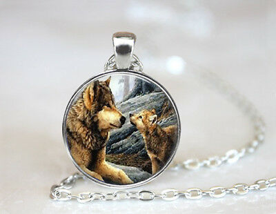 Vintage Wolf Animal Dome Tibetan silver Glass Chain Pendant Necklace