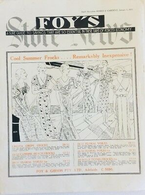 1933 Foy & Gibson store Adel Summer Frocks advert; sketches + Blades Kingswood