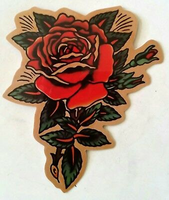Beautiful Tattoo Style Rose PVC Sticker Rockabilly Luggage Laptop 7 x 8.5 cm