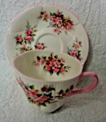 Royal Albert Blossom Time Series Apple Blossom Footed Cup and Saucer