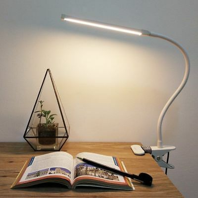 LED Nail Table Lamp Manicure Makeup Desk Bed Dimmable Mains USB Flexible Neck